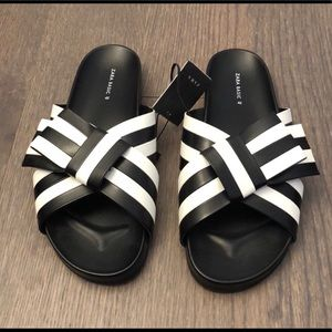 Women's Zara Black/White Bow Slides